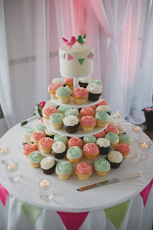 Pink and green wedding cupcake tower