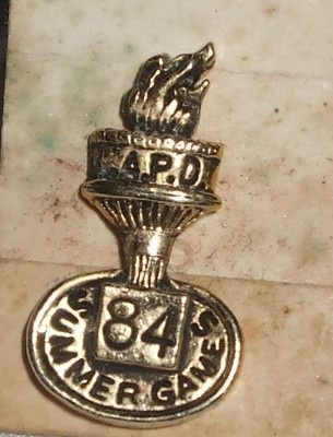 LAPD 1984 Summer Games Lapel Pin Pinback Los Angeles Police Department  Click on photo for more information