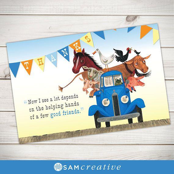Little Blue Truck Thank You Card Little Blue Truck Birthday