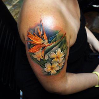 Andres Acosta Bird of Paradise Plumeria Tattoo