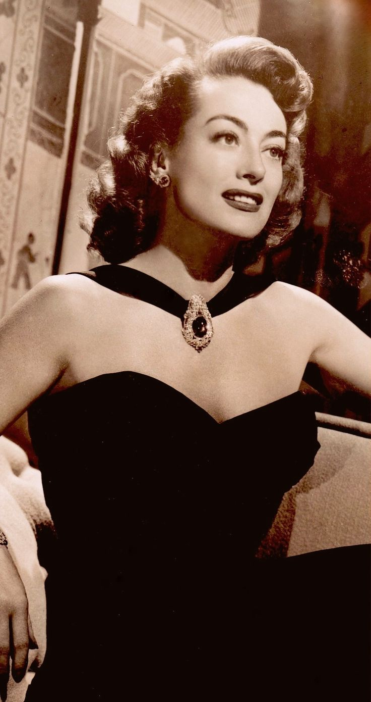 JOAN CRAWFORD in black evening gown 1947 (detail) from vintage photo (please follow minkshmink on pinterest)