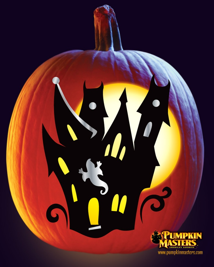 House pattern from the pumpkin masters paint carve kit for Halloween pumpkin painting templates