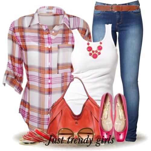 red and orange checked shirt Fashion Plaid Shirts for woman http://www.justtrendygirls.com/fashion-plaid-shirts-for-woman/