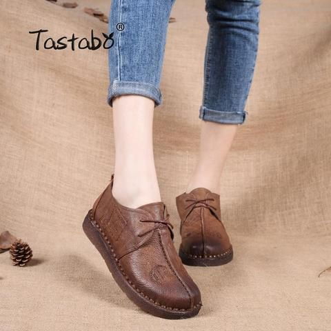 e59994e753 Tastabo Genuine Leather Flat Shoe Pregnant Women Shoe Mother Driving Shoe  Female Moccasins Women Flats Hand-Sewing Shoes Outfit Accessories From  Touchy ...