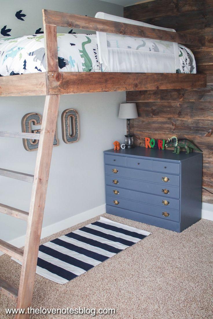 Diy custom loft bed with ladder for dinosaur themed room