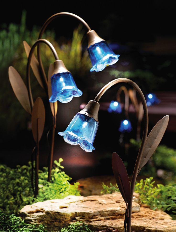 Flower Solar Garden Lights - 3 Bluebell Glass Lamps - Copper Stake