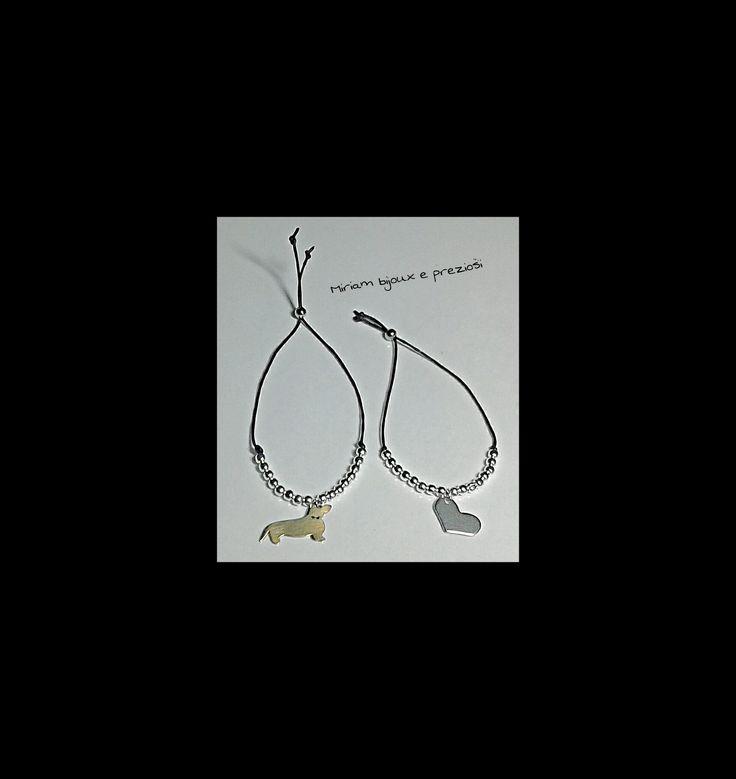 Braccialetti realizzati con cordoncino cerato, sferette in metallo anallergico e charms in acciaio  € 7