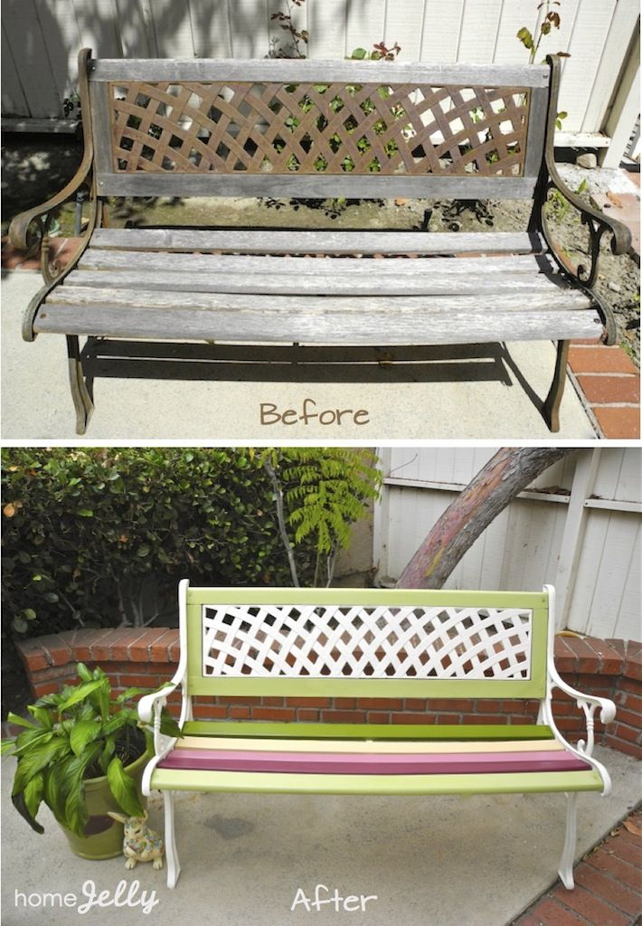Need to spruce up an old bench in our back yard. I am so doing this this spring!