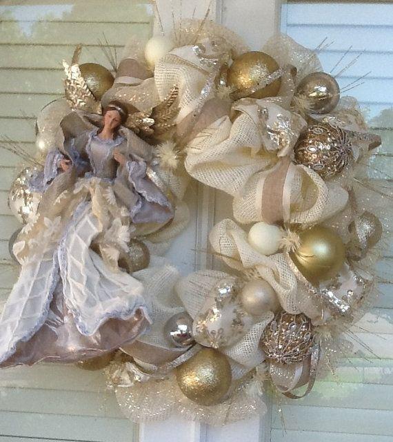 Elegant Angel Ivory Burlap Christmas Wreath by HertasWreaths, $185.00