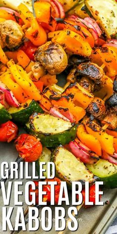 Vegetable kabobs are an easy and versatile recipe that allows you to grill whatever fresh veggies yo Grilled Vegetable Skewers, Grilled Vegetable Recipes, Marinated Vegetables, Healthy Grilling Recipes, Grilled Vegetables, Grilled Chicken Recipes, Barbecue Recipes, Burger Recipes, Steak Recipes
