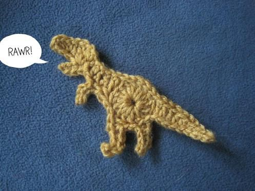 Free crochet t-rex applique pattern