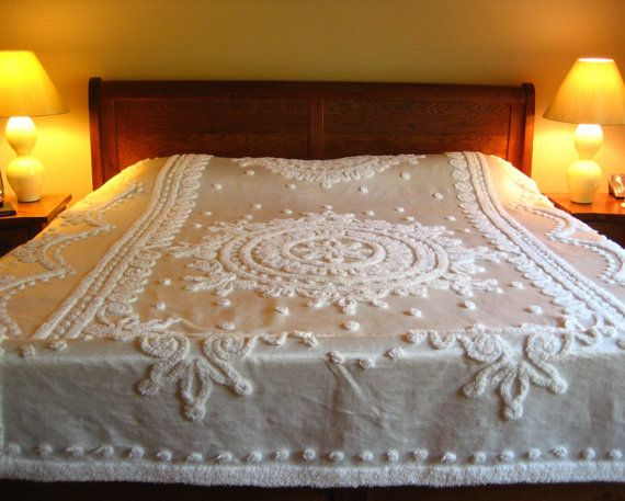 Ivory Vintage Chenille and Satin Bedspread