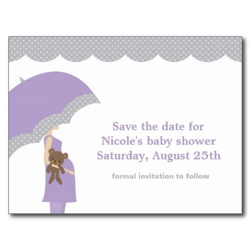 Lavender Umbrella Baby Shower Save The Date Post Card