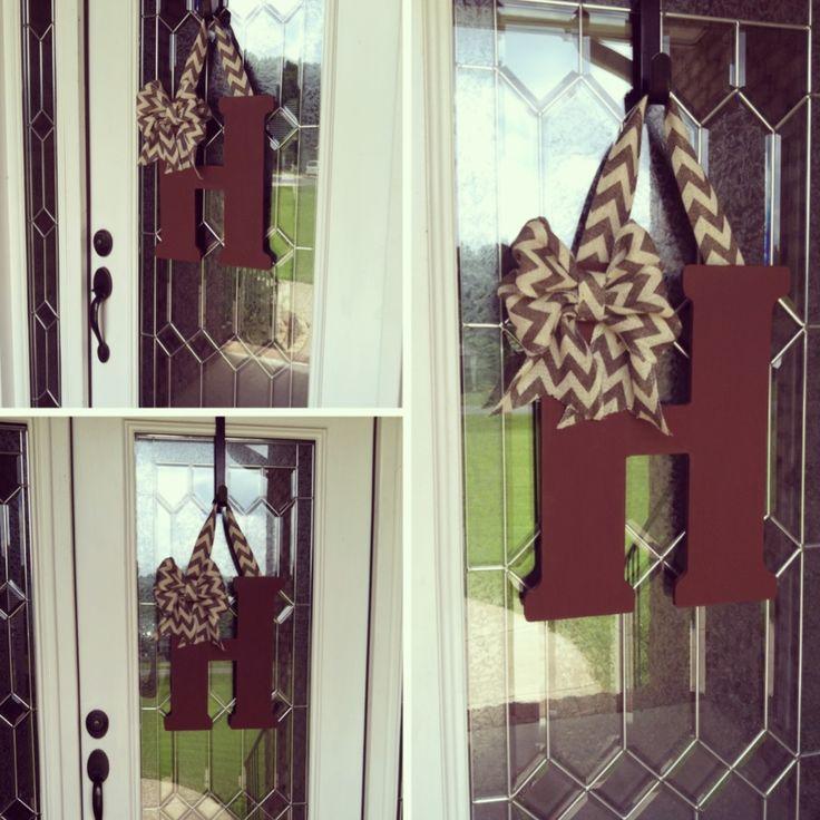 Monogram door hanger with chevron burlap!
