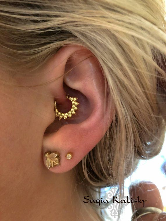 db872645d9147 Gold or Silver Cartilage Earring Tragus Earring Rook Helix Earring ...