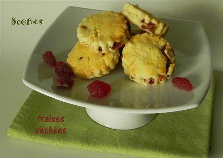 Scones aux fraises séchées, sans gluten et sans lactose