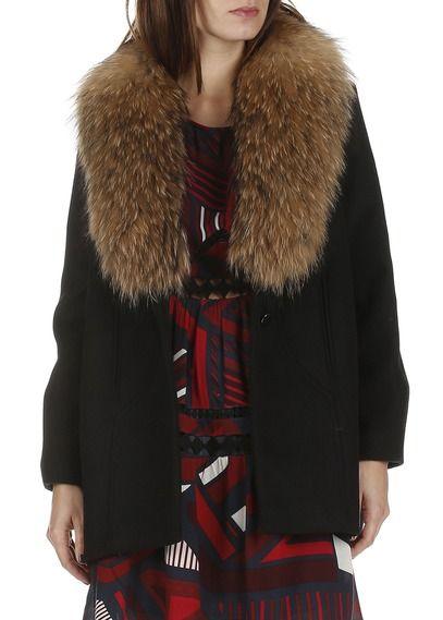 Manteau col fourrure en laine mélangée Wax Noir by BA & SH