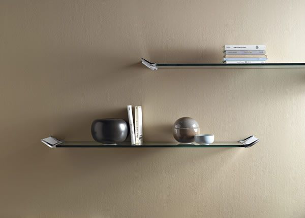 'Lala' Tempered glass shelf with aluminium supports. Available in 2 dimensions and with book stop of a matching design.