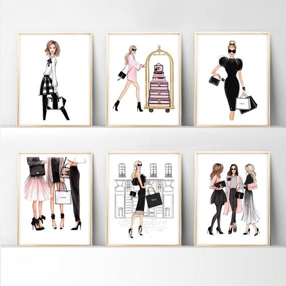 Set Of 6 Prints Wall Art Print Fashion Decor Fashion Bedroom Art Set Fashion Poster Black And White Wall Art Fashion Print Set In 2021 Girly Wall Art Wall Art Prints