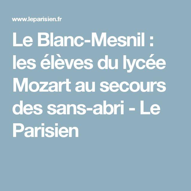 Le Blanc-Mesnil : les élèves du lycée Mozart au secours des sans-abri - Le Parisien