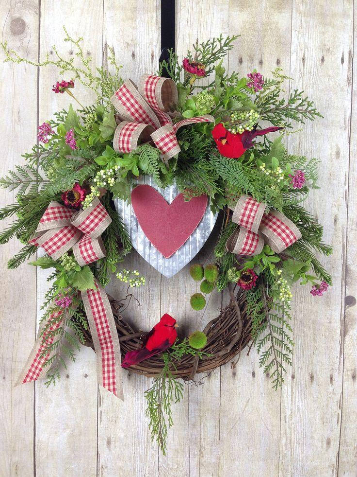 Valentines Wreath, Valentines Day Decor, Winter Wreath, Front Door Wreath, Cardinal Wreath, Rustic Wreath, Country Wreath, Heart Wreath by spratsdesign on Etsy