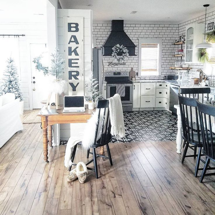 "253 Likes, 18 Comments - Jo (@the_simple_farmhouse) on Instagram: ""Clean kitchen/desk is ALWAYS a plus!! LOVE our newly installed hickory hand scraped wood floors!!…"""