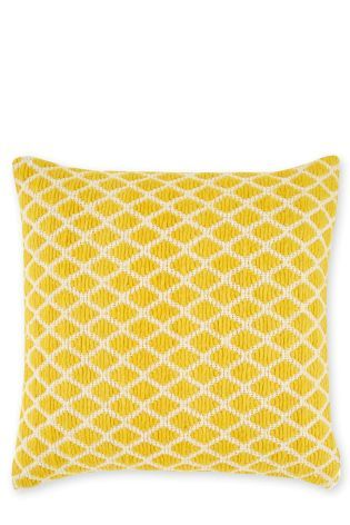 Buy Yellow Woolly Geo Cushion from the Next UK online shop