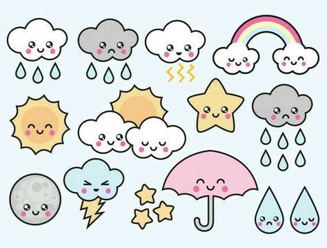 Premium Vector Clipart – Kawaii Weather Clipart – Kawaii Weather Clip art Set – High Quality Vectors – Instant Download – Kawaii Clipart