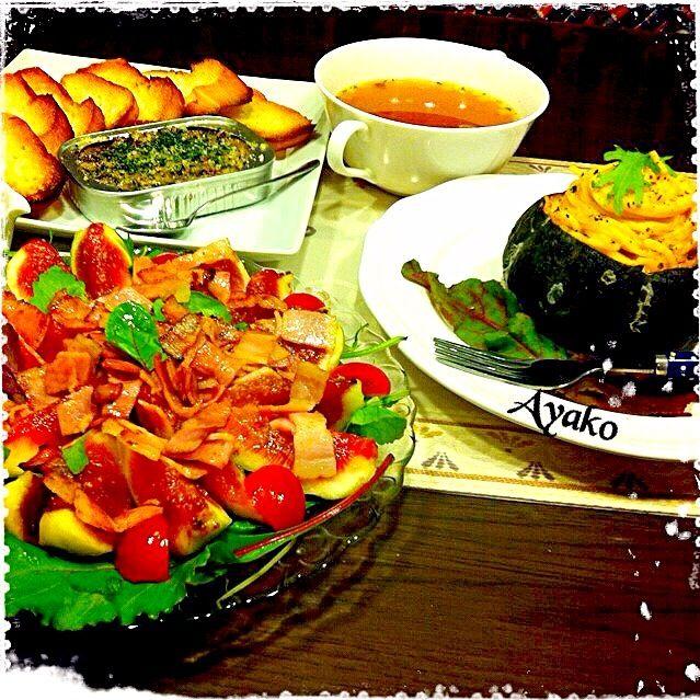 今が旬の無花果を使って、サラダを作ってみました。無花果の甘さとベーコンの塩気が、凄く合う(≧∇≦) - 149件のもぐもぐ - 無花果とベーコンのサラダ、坊ちゃんかぼちゃでチーズパスタ、オイルサーディンのブルスケッタ、オニオンコンソメスープ by ayako1015