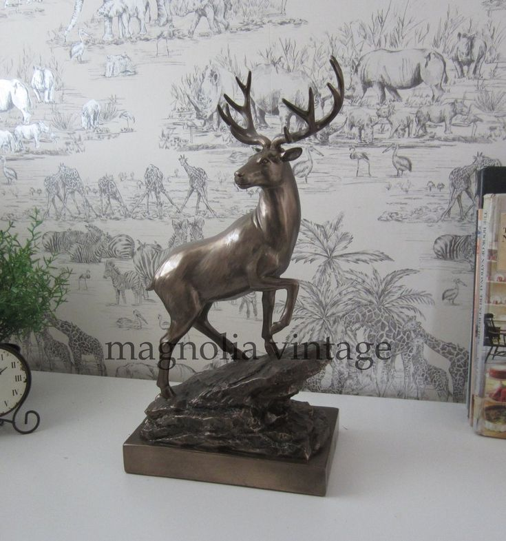 Bronze Effect Stag Deer Standing On A Rock Stature Figure Ornament heavy quality