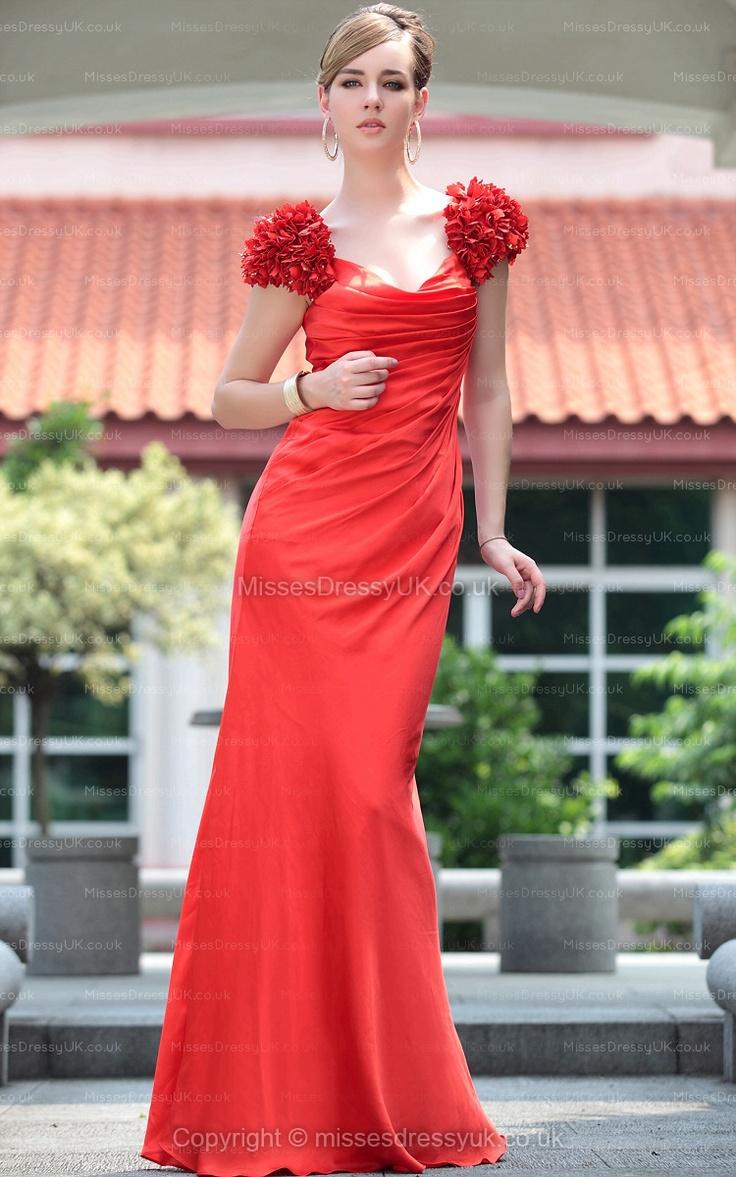 Sheath/Column Straps Silk-like Satin Floor-length Red Flowers Evening Dress