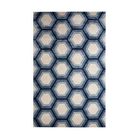 Contemporary Tribal Pattern Area Rug // Ivory + Blue (2'L x 3'W)