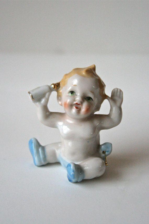 Vintage Baby Figurine Litle Boy Blue Baby Boy Baby by StudioSisu