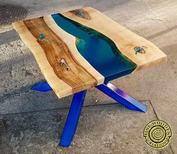 Resine De Riviere Table Basse Avec Les Jambes En Turquoise Avec