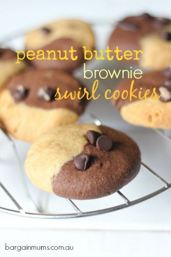 Everyone knows that peanut butter and dark chocolate just go together.  These PEANUT BUTTER BROWNIE SWIRL COOKIES are the perfect example http://bargainmums.com.au/peanut-butter-brownie-swirl-cookies #peanutbutter #chocolate #brownie #cookies #recipe