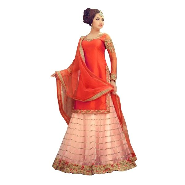 Buy Designer Orange Banglori Silk With Embroidery Work Semi-Stitched Lehenga Online at cheap prices from Shopkio.com: India`s best online shoping site