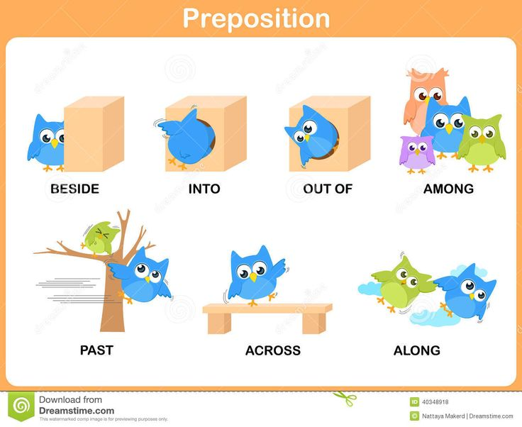 Prepositions beside, into, out of, among Phonics