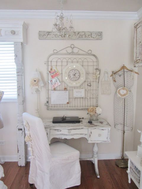 Reused materials for office ~ Junk Chic Cottage...Like the hanger on a lamp stand in the back