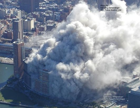 One and Two World Trade Center buildings collapsed within 30 minutes each other; Seven World Trade Center collapsed later that afternoon, around 5:00 or so. There was no way to see your way out of that cloud.