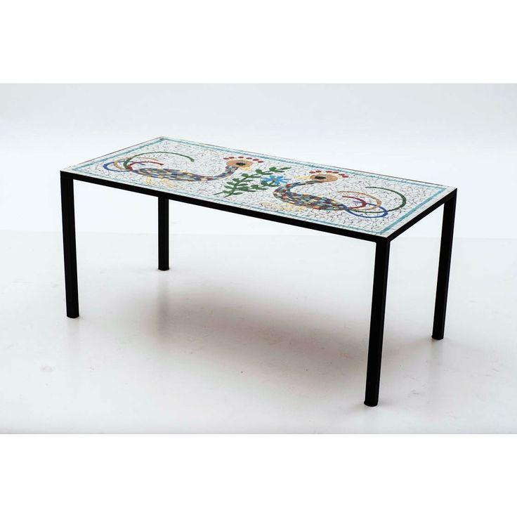Tavolino mosaico paese Svizzera anni 60 fantasia nero in pietra e metallo