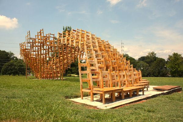 A Pavilion Made Entirely Out Of Stacked Chairs by e/b officeWooden Chairs, Sculpture, E B Offices, Offices Art, Seats, Eb Offices, Art Installations, Atlanta, Offices Chairs