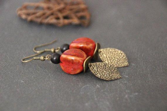 Boucles d'oreilles céramique rouge bohème ethnique