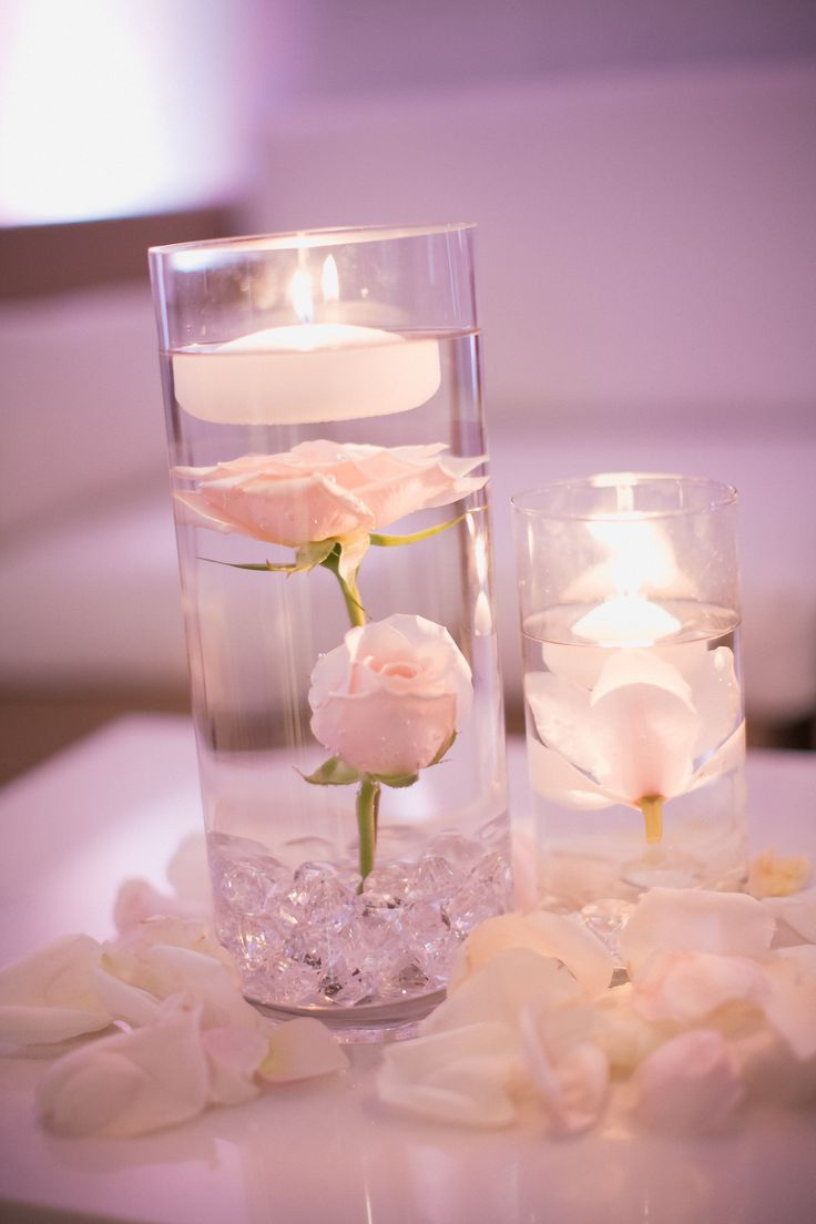 Submerged Flower Centerpiece. Blush and ivory wedding. Roses, orchids, floating candles, crystals., Florals by Jenny