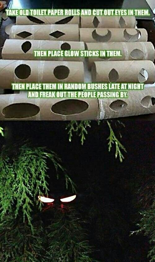 The re-purposed toilet paper rolls would be good with different colored glow sticks in them to shine through the eye wholes.  Then I'd put them in the flower beds in front of the porch. Easy DIY