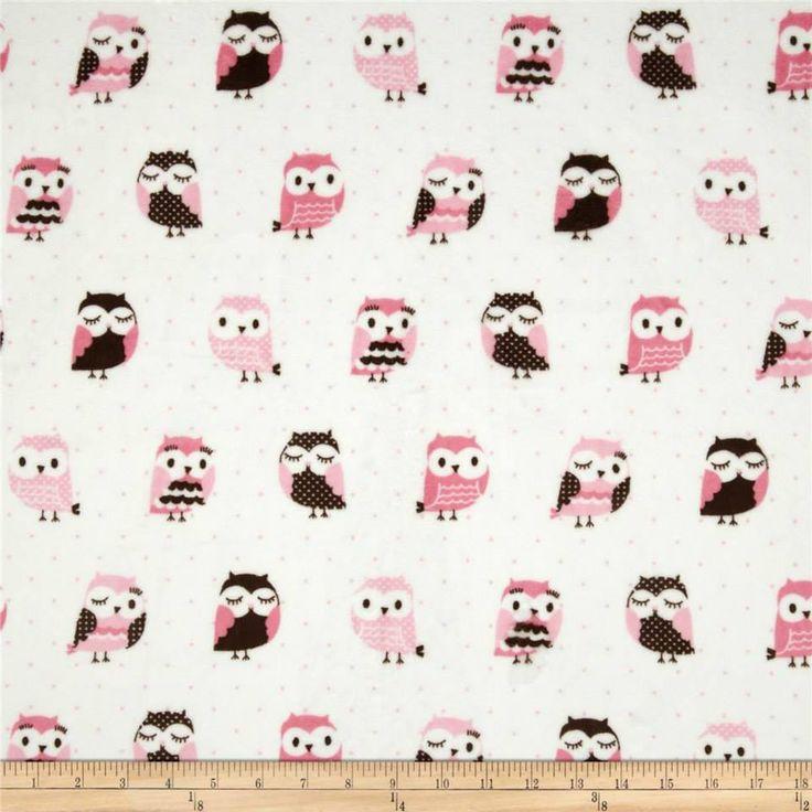 Pink Brown Owl Minky