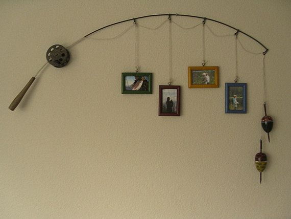 Fishing Pole Picture Frame = <3 For my mothers basement!
