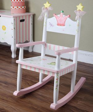 Sitting pretty is extra sweet with this princess-worthy perch. With hand-painted details that are sure to delight, this rocking chair provides a special spot for little ones to rest and relax while reading a book or watching a movie.