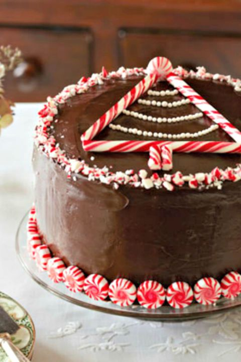 Peppermint-Chocolate Layer Cake: Chocolate and peppermint is a classic holiday combination, and when paired together in this rich cake, they make a delectably festive dessert. Find more easy and delicious non-traditional and traditional Christmas dinner menu ideas and recipes including appetizers, entrees, desserts, drinks and main courses here.