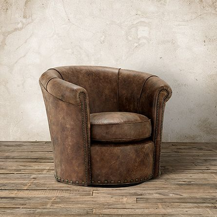 Benedict Leather Swivel Chair In Bronco Whiskey | Arhaus Furniture