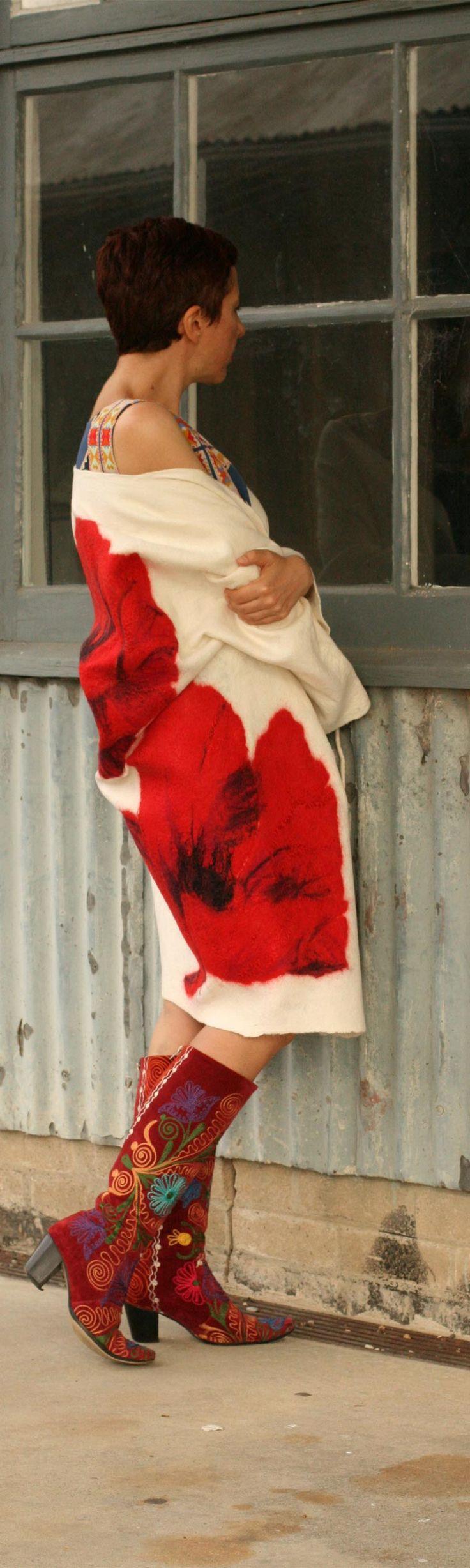 Buy wool felted jacket by Vera Alexanderova. #fashion #style #handmade #white #womensfashion #womenswear #coat #unique #wearables #art #sustainablefashion #sustainability #boho